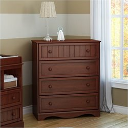 South Shore Savannah 4 Drawer Chest in Royal Cherry
