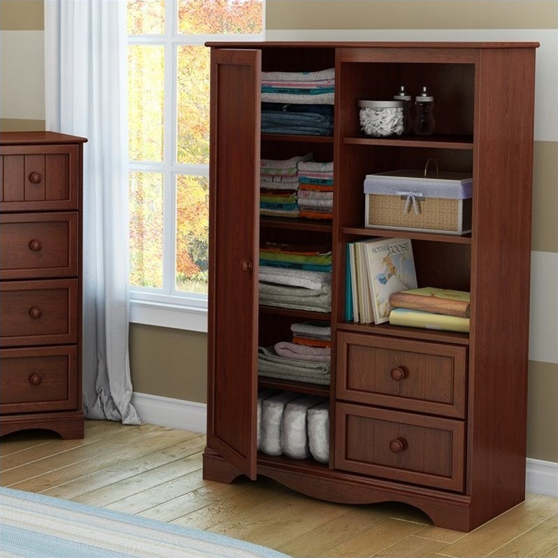 Ordinaire South Shore Savannah Armoire In Royal Cherry