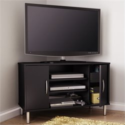 South Shore Renta Corner TV Stand in Pure Black