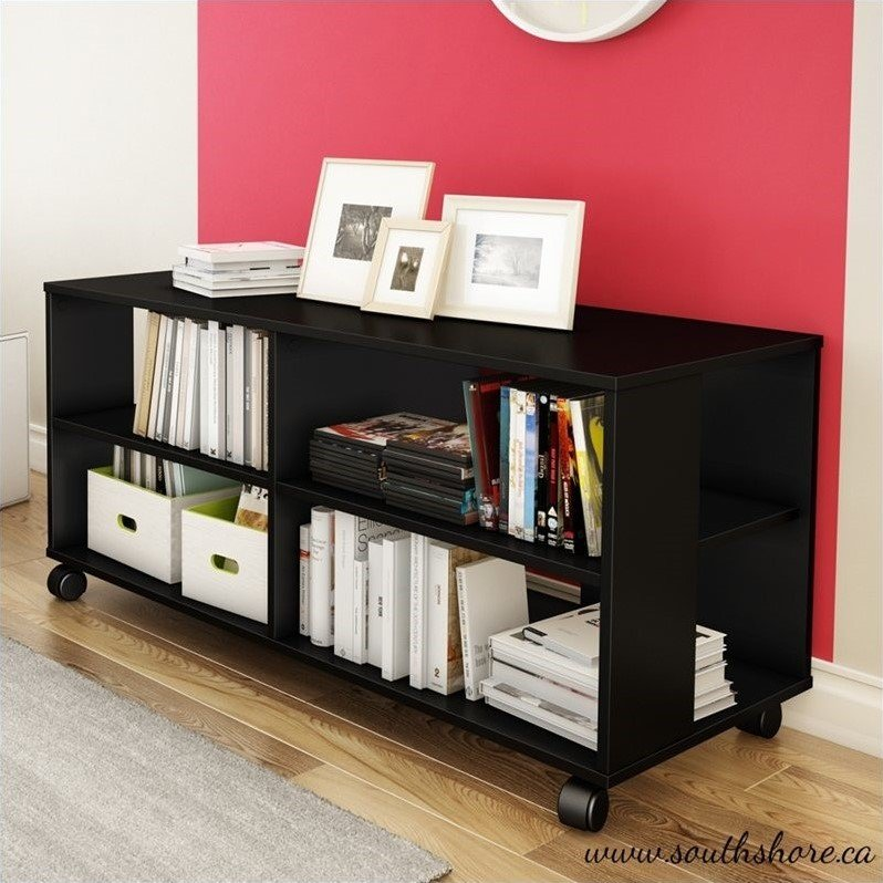 South Shore Jambory Storage Unit on Casters in Pure Black
