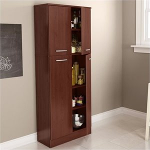 South Shore Fiesta Storage Pantry in Royal Cherry