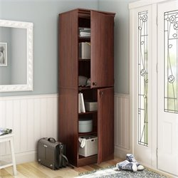 South Shore Morgan Narrow Storage Cabinet in Royal Cherry