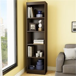 South Shore Axess 5-Shelf Narrow Bookcase in Chocolate