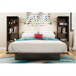 South Shore Back Bay 3 Piece Platform Bed with Bookshelf Nightstands
