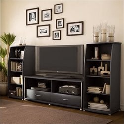 South Shore City Life 3 Piece Entertainment Center in Black