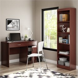 South Shore Axess 2 Piece Office Set with Narrow Bookcase in Royal Cherry