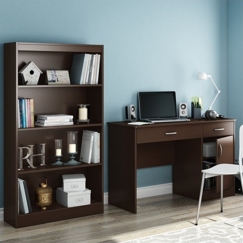 South Shore Axess 2 Piece Office Set in Chocolate