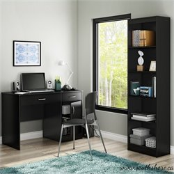 South Shore Axess 2 Piece Office Set with Narrow Bookcase in Pure Black