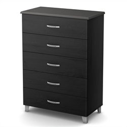 South Shore Lazer Five Drawer Chest in Black Onyx