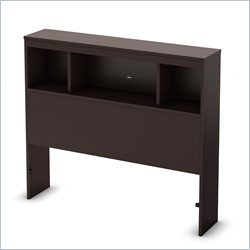 South Shore Karma Bookcase Headboard in Chocolate - Twin