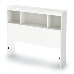 South Shore Karma Bookcase Headboard in Pure White - Full