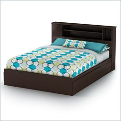South Shore Fusion Mates Bed with Bookcase Headboard in Chocolate