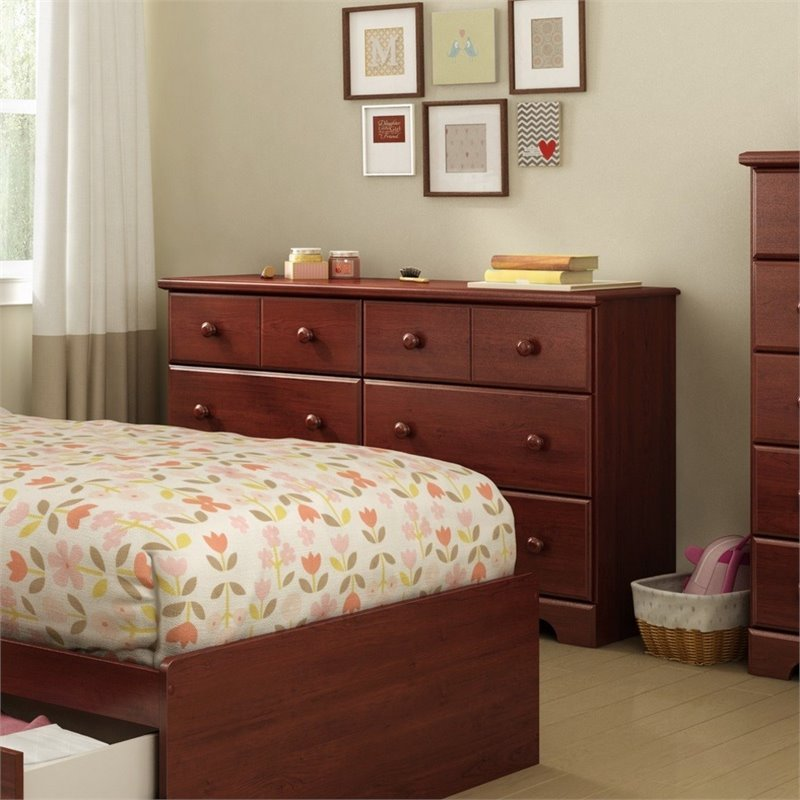 South Shore Summer Breeze 6 Double Drawer Dresser in Royal Cherry