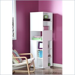 South Shore Reveal Revolving Bookcase in Pure White