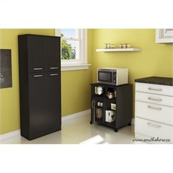 South Shore Fiesta Microwave Cart with Storage on Wheels in Pure Black