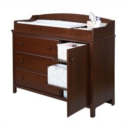 South Shore Cotton Candy Changing Table with Removable Station in Sumptuous Cherry