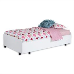 South Shore Mobby Twin Trundle Bed on Casters in Pure White
