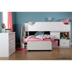South Shore Mobby Twin Loft Bed with Trundle and Storage in Pure White