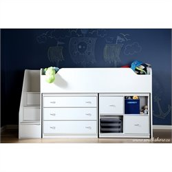 South Shore Mobby Twin Loft Bed with Chest and Storage in Pure White