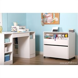 South Shore Crea Craft Storage Cabinet on Wheels in Pure White