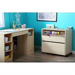 South Shore Crea Craft Storage Cabinet on Wheels in Natural Maple