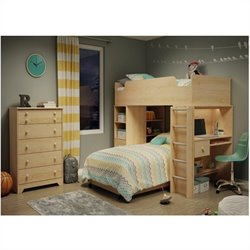 South Shore Logik Collection Loft Bed in Natural Maple
