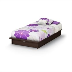 South Shore Twin Platform Bed with drawers in Chocolate