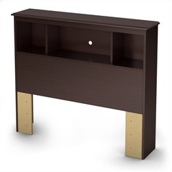 South Shore Zach Twin Bookcase Headboard in Chocolate