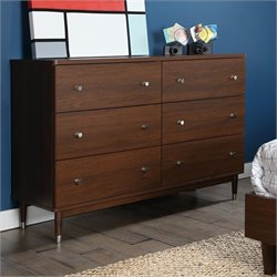 South Shore Olly Mid Century Modern 6 Drawer Double Dresser Brown Walnut