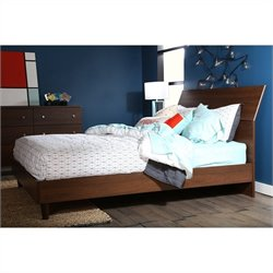 South Shore Olly Mid Century Modern Queen Platform Bed with headboard in Brown