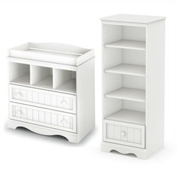 South Shore Savannah Changing Table and Shelving Unit with Drawer in Pure White