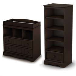 South Shore Savannah Changing Table and Shelving Unit with Drawer in Espresso