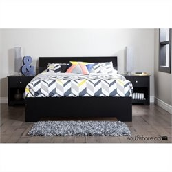South Shore Vito Queen Platform Bed in Pure Black
