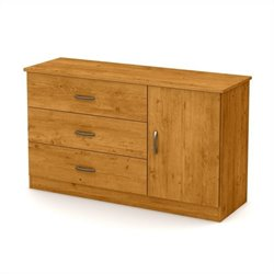 South Shore Libra 3-Drawer Dresser with Door in Country Pine