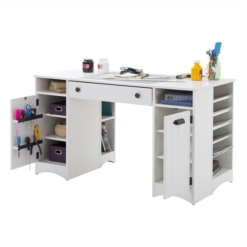 South shore artwork craft table with storage in pure white for Craft desk with storage
