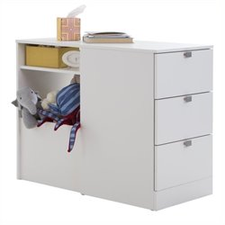 South Shore Sparkling Twin Storage Bookcase Headboard with 3 Drawers in White