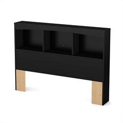 South Shore Maddox Full Bookcase Headboard in Pure Black