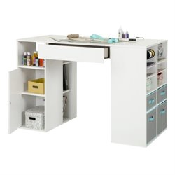 South Shore Crea Storage Counter Height Craft Table in White