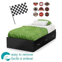 South Shore Luka Twin Mates Racing Decal Bed with Drawers in Black