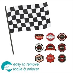 South Shore Luka Racing Flag and Badge Wall Decal Set in Red and Black