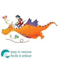 South Shore Andy Dragon Wall Decoration Decal in Orange