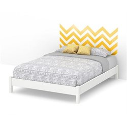 South Shore Step One Queen Yellow Decal Platform Bed and Legs in White