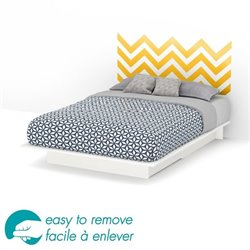 South Shore Step One Queen Storage Yellow Decal Platform Bed in White