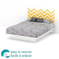 South Shore Step One Queen Yellow Decal Platform Bed in White