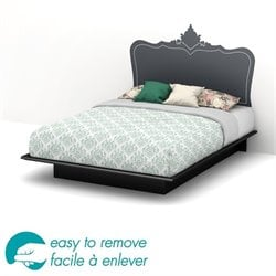 South Shore Step One Queen Black Decal Platform Bed in Black