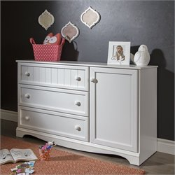 South Shore Savannah 3-Drawer Dresser with Door in Pure White