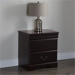 South Shore Vintage 2-Drawer Night Stand in Dark Mahogany