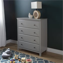 South Shore Cotton Candy 4-Drawer Chest in Soft Gray