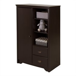 South Shore Fundy Tide Armoire with Drawers in Espresso
