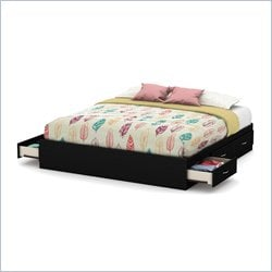 South Shore Step One King Platform Bed in Pure Black